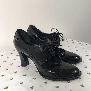 Chanel Mary Jane Patent Leather Heels - Size 38.5
